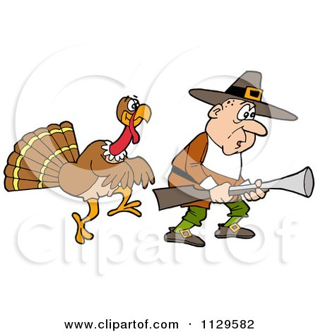 Cartoon Of A Thanksgiving Turkey Bird Sneaking Behind A Hunting Pilgrim - Royalty Free Vector Clipart by LaffToon