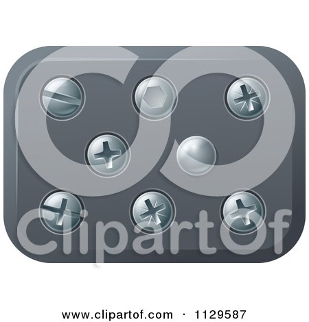Clipart Of Screws And Bolts In Metal - Royalty Free Vector Illustration by AtStockIllustration