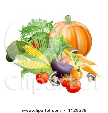 Clipart Of Fresh Harvest Vegetables - Royalty Free Vector Illustration by AtStockIllustration