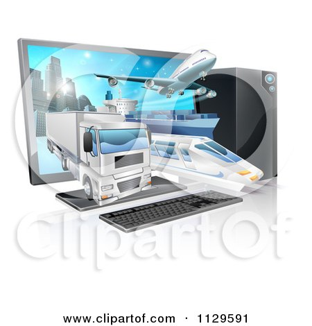 Clipart Of A Big Rig Airplane Cargo Ship And Train Emerging From A Desktop Computer Royalty Free Vector Illustration