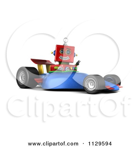 Clipart Of A 3d Red Robot Waving And Driving A Race Car - Royalty Free CGI Illustration by stockillustrations