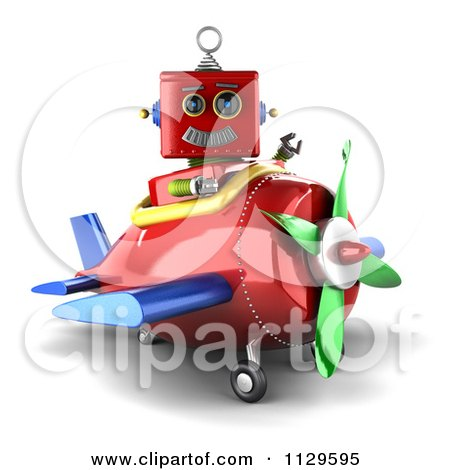 Clipart Of A 3d Red Robot Waving And Sitting In A Plane - Royalty Free CGI Illustration by stockillustrations