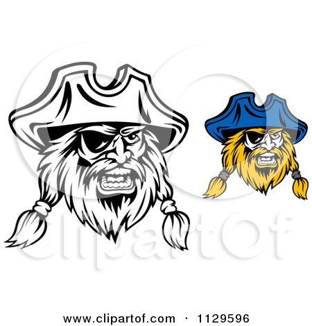 Clipart Of Angry Pirate Faces With Eye Patches 4 - Royalty Free Vector Illustration by Vector Tradition SM