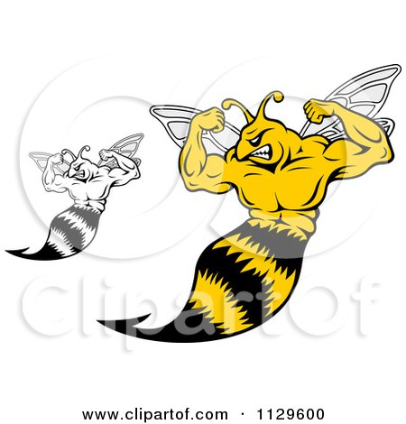 Clipart Of Black And White And Colored Strong Yellow Jackets Flexing - Royalty Free Vector Illustration by Vector Tradition SM
