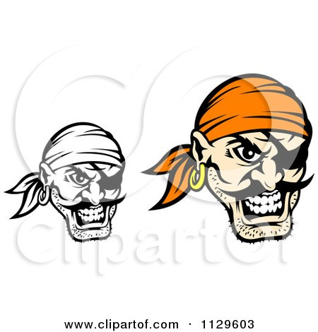 Clipart Of Angry Pirate Faces With Eye Patches 3 - Royalty Free Vector Illustration by Vector Tradition SM