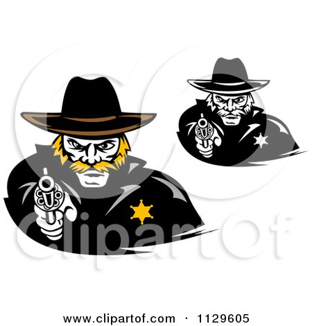 Clipart Of Cowboy Sherrifs Pointing Pistols - Royalty Free Vector Illustration by Vector Tradition SM