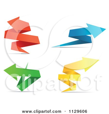 Clipart Of Colorful Origami Paper Arrows 3 - Royalty Free Vector Illustration by Vector Tradition SM