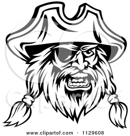 Clipart Of An Angry Black And White Pirate Face With An Eye Patch 4 - Royalty Free Vector Illustration by Vector Tradition SM