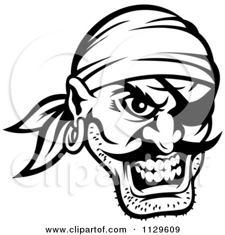 Clipart Of An Angry Black And White Pirate Face With An Eye Patch 3 - Royalty Free Vector Illustration by Vector Tradition SM