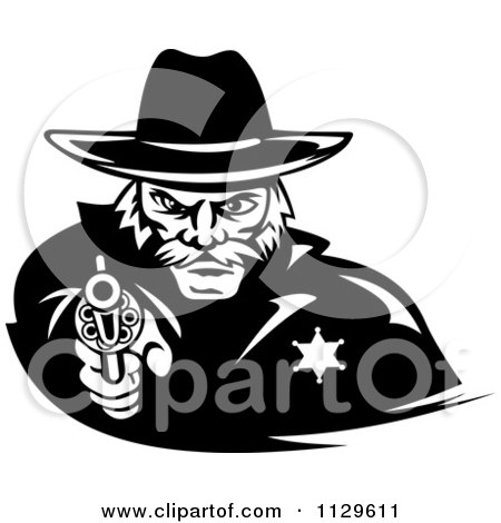 Clipart Of A Black And White Cowboy Sheriff Pointing A Pistol - Royalty Free Vector Illustration by Vector Tradition SM