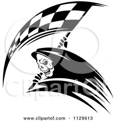 Clipart Of A Black And White Grim Reaper With A Racing Flag Scythe 2 - Royalty Free Vector Illustration by Vector Tradition SM