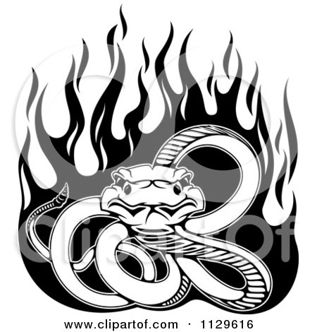 Clipart Of A Black And White Snake With Flames - Royalty Free Vector Illustration by Vector Tradition SM