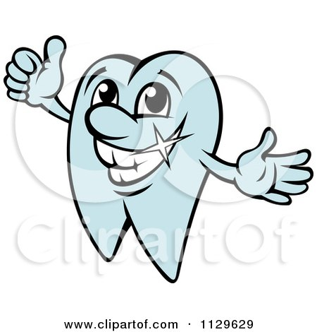 Clipart Of A Happy Blue Tooth Mascot Holding A Thumb Up - Royalty Free Vector Illustration by Vector Tradition SM