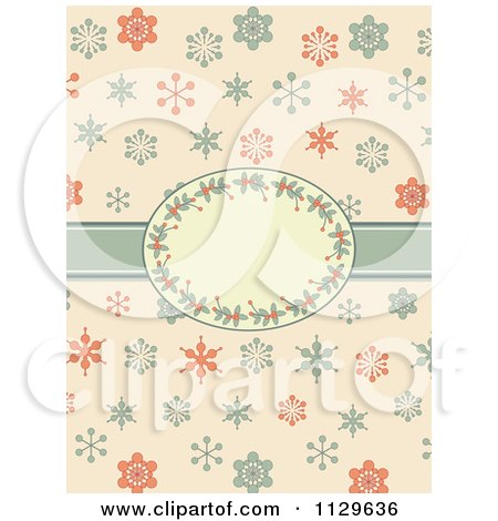 Clipart Of A Retro Christmas Background Of Snowflakes And A Holly Frame - Royalty Free Vector Illustration by elaineitalia