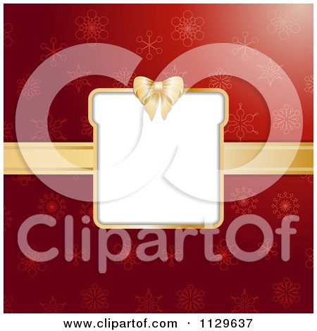 Clipart Of A Christmas Gift Box Frame With Gold Ribbon Over Red Snowflakes - Royalty Free Vector Illustration by elaineitalia