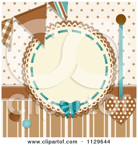 Clipart Of A Retro Round Frame With Banner Flags Buttons Polka Dots And Stripes In Brown And Blue - Royalty Free Vector Illustration by elaineitalia