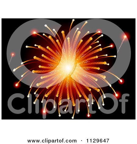 Clipart Of A Burst Of Orange Holiday Fireworks On Black - Royalty Free Vector Illustration by elaineitalia