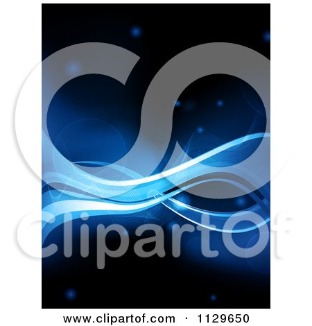 Clipart Of A Background Of Blue Waves With Mesh On Black - Royalty Free Vector Illustration by elaineitalia