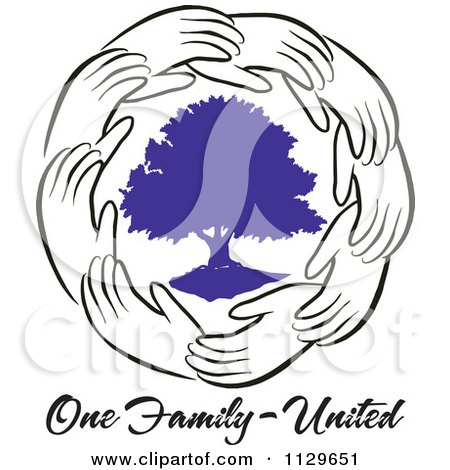 Cartoon Of A Ring Of Hands Around A Purple Tree With One Family United Text - Royalty Free Vector Clipart by Johnny Sajem
