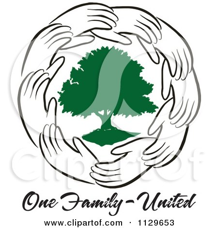 Cartoon Of A Ring Of Hands Around A Green Tree With One Family United Text - Royalty Free Vector Clipart by Johnny Sajem