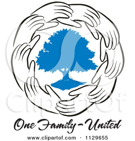 Cartoon Of A Ring Of Hands Around A Blue Tree With One Family United Text - Royalty Free Vector Clipart by Johnny Sajem