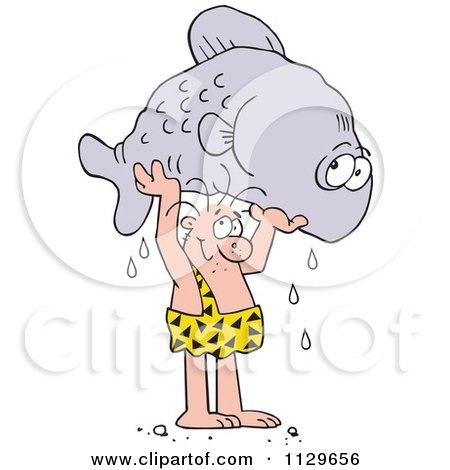 Cartoon Of A Caveman Proudly Holding Up A Giant Fish - Royalty Free Vector Clipart by Johnny Sajem