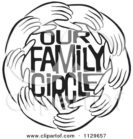 Cartoon Of A Black And White Ring Of Hands Around Our Family Circle Text - Royalty Free Vector Clipart by Johnny Sajem