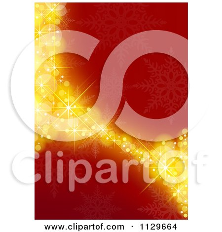 Clipart Of A Red And Gold Snowflake Curve Christmas Background - Royalty Free Vector Illustration by dero