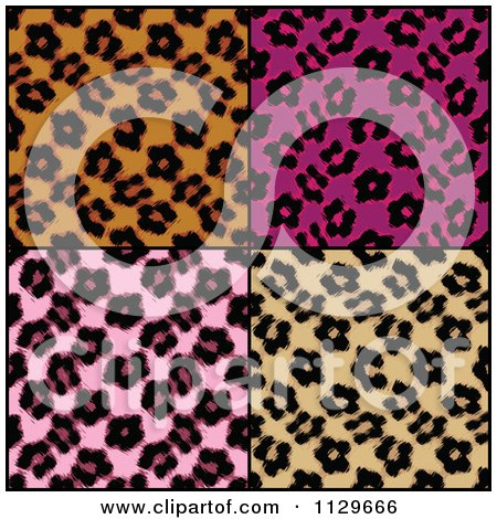 Clipart Of Seamless Colorful Leopard Print Patterns - Royalty Free CGI Illustration by Arena Creative