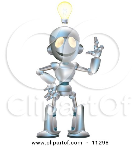Friendly Futuristic Robot With An Idea And A Lightbulb Over His Head Clipart Illustration