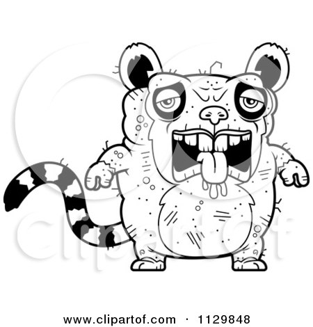 ugliest pet shop coloring pages | Cartoon Clipart Of An Outlined Confused Ugly Lemur - Black ...