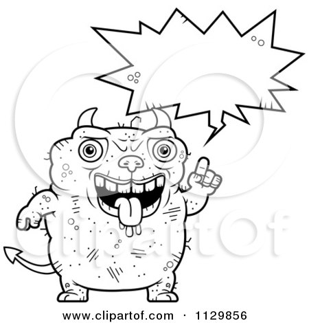 Cartoon Clipart Of An Outlined Talking Ugly Devil - Black And White Vector Coloring Page by Cory Thoman