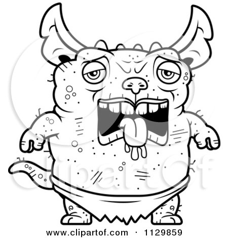 Cartoon Clipart Of An Outlined Amorous Pudgy Green Gremlin Black