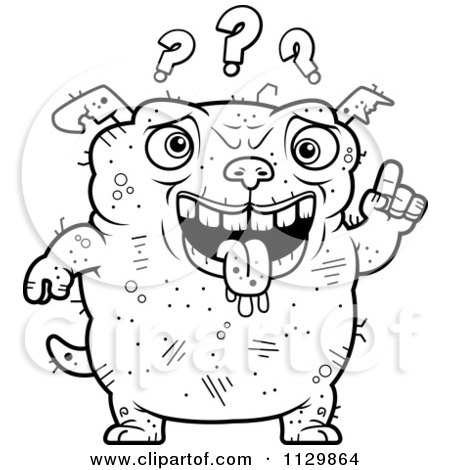 Cartoon Clipart Of An Outlined Dumb Ugly Dog With Questions - Black And White Vector Coloring Page by Cory Thoman