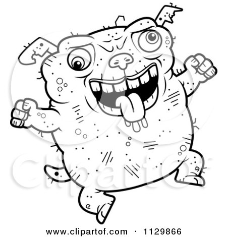 Cartoon Clipart Of An Outlined Jumping Ugly Dog - Black And White Vector Coloring Page by Cory Thoman