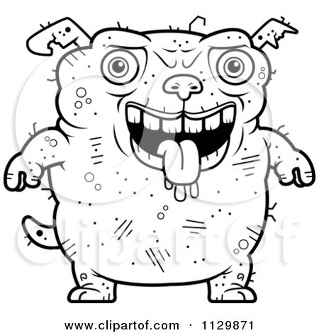 Cartoon Clipart Of An Outlined Drooling Ugly Dog - Black And White Vector Coloring Page by Cory Thoman