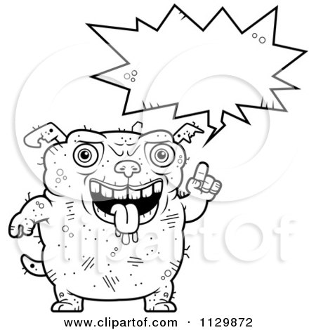 Cartoon Clipart Of An Outlined Talking Ugly Dog - Black And White Vector Coloring Page by Cory Thoman