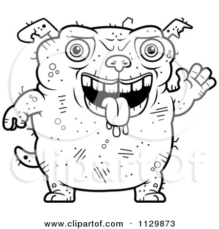 Cartoon Clipart Of An Outlined Waving Ugly Dog - Black And White Vector Coloring Page by Cory Thoman