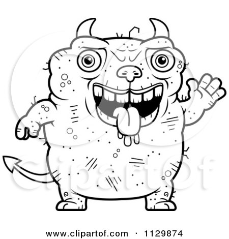 Cartoon Clipart Of An Outlined Waving Ugly Devil - Black And White Vector Coloring Page by Cory Thoman