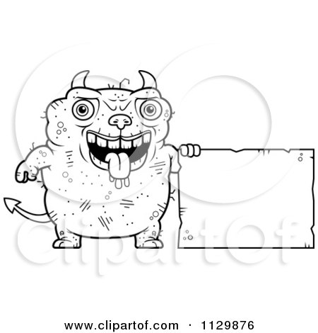 Cartoon Clipart Of An Outlined Ugly Devil With A Sign - Black And White Vector Coloring Page by Cory Thoman