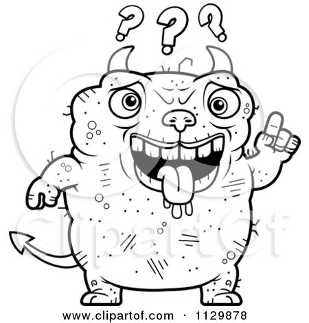 Cartoon Clipart Of An Outlined Dumb Ugly Devil - Black And White Vector Coloring Page by Cory Thoman
