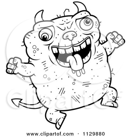 Cartoon Clipart Of An Outlined Jumping Ugly Devil - Black And White Vector Coloring Page by Cory Thoman