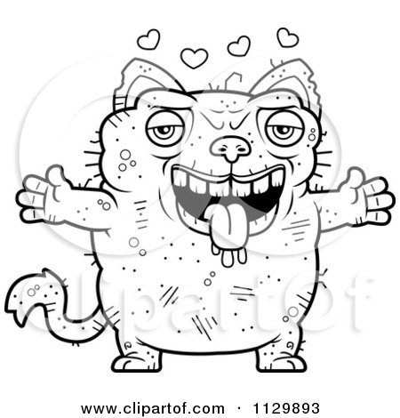 Clipart Waving Ugly Cat Royalty Free Vector Illustration