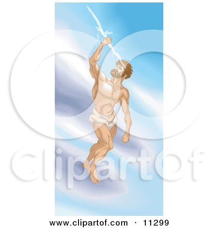 Greek God, Zeus, Standing on a Cloud and Grasping a Thunderbolt Clipart Illustration by AtStockIllustration