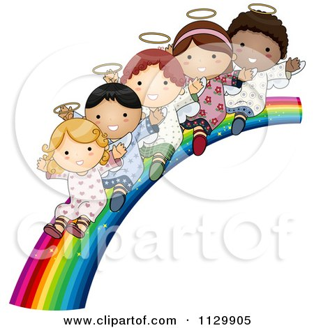 Cartoon Of Cute Multi Ethnic Angel Children Sliding Down A Rainbow - Royalty Free Vector Clipart by BNP Design Studio
