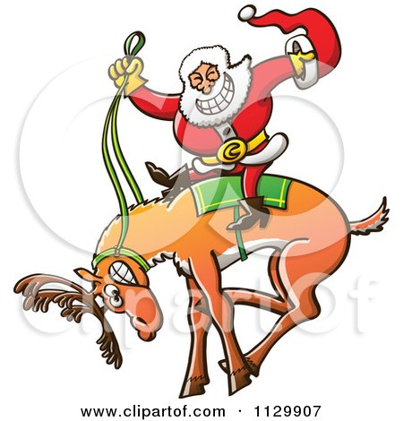 Cartoon Of A Rodeo Santa Riding A Bucking Christmas Reindeer - Royalty Free Vector Clipart by Zooco
