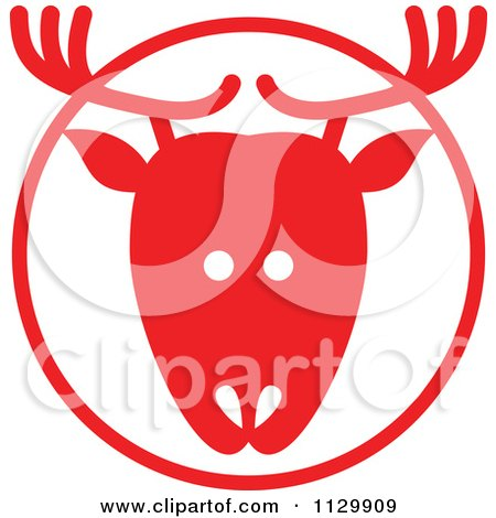 Cartoon Of A Round Red Reindeer Christmas Avatar - Royalty Free Vector Clipart by Zooco