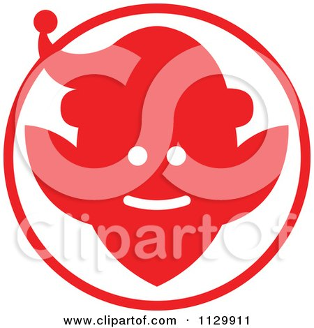 Cartoon Of A Round Red Christmas Elf Avatar - Royalty Free Vector Clipart by Zooco