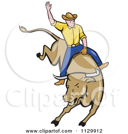 Clipart Of A Retro Rodeo Cowboy On A Bucking Bull Royalty Free Vector Illustration