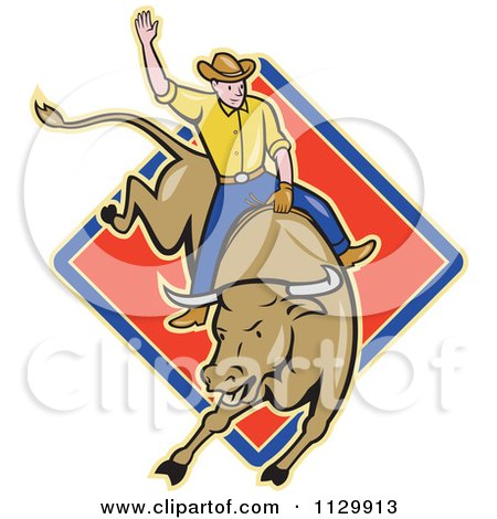 Clipart Of A Retro Rodeo Cowboy On A Bucking Bull Over A Diamond - Royalty Free Vector Illustration by patrimonio